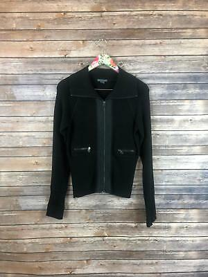 AX Armani Exchange Women's Size L Black Knit Jacket Full Zip Zipper Pocket EH015