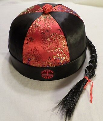 Traditional Chinese Style Hat Skullcap Beanie Retro Qing Cap w/ Braided Ponytail