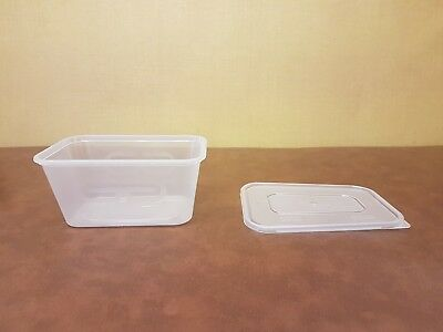 250 x Heavy Duty Clear Plastic 1000ml Containers With Lids Satco Microwave Safe!