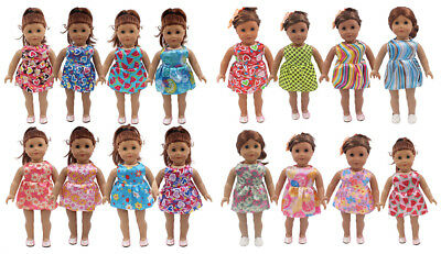 Fit For 18'' American Girl Sundress Mini Flower & Heart Party Dress Doll Clothes