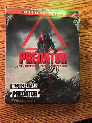 Predator Trilogy 3 Movie Collection Blu-Ray Steelbook Limited Edition NEW Sealed