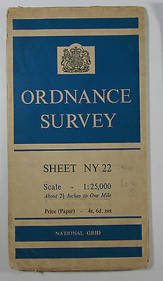 1960 old vintage OS Ordnance Survey 1:25000 First Series Map NY 22 Keswick 35/22