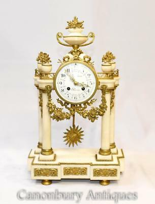 Antique Mantel Clock - French Empire Marble Ormolu Fixtures Classical