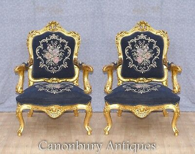 Pair Rococo Arm Chairs - Gilt French Accent Seats