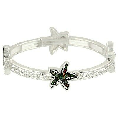 Starfish Fashionable Stretchable Bracelet - Abalone Paua Shell - Silver Plated