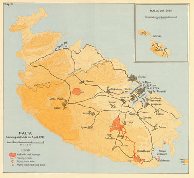 MALTA April 1942 showing airfields. World War 2. Flying boat bases 1960 map