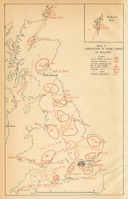 UK Home Forces disposition 1st May 1940. World War 2. Operation Sealion 1957 map