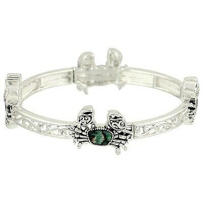 Crab Fashionable Stretchable Bracelet - Abalone Paua Shell - Silver Plated