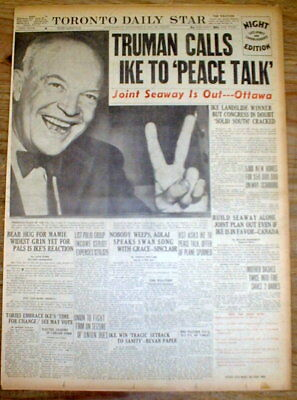 1952 display newspaper w Lrg Pic DWIGHT D EISENHOWER ELECTED PRESIDENT of the US