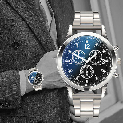 Fashion Men Military Watches Analog Quartz Stainless Steel Big Dial Wrist Watch