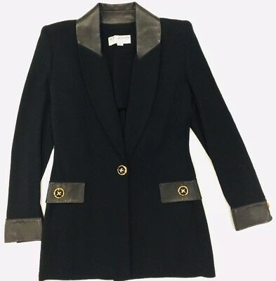 St John Collection by Marie Gray Black Blazer Jacket Wool Blend Leather Size 2