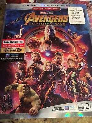 NEW AVENGERS INFINITY WAR(BLU-RAY)W/SLIPCOVER NEW UNOPENED Great Family Movie🎁