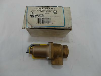 """New Watts 1"""" 174A SET 125 PSI ASME Water Pressure Safety Relief Valve"""