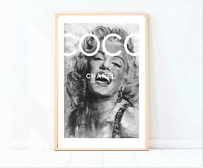 Marilyn Monroe black and white miss coco painting drawing print/poster