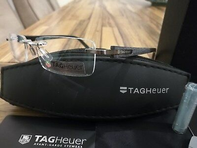 TAG HEUER GUN With Brushed Arms rimless Glasses TH 8103 014 54-17 RARE