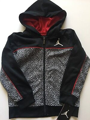 5ad401686f1f Nike Air Jordan Boys Zip-Up Jacket Sweatshirt Size 6 7 Black Grey Red Therma
