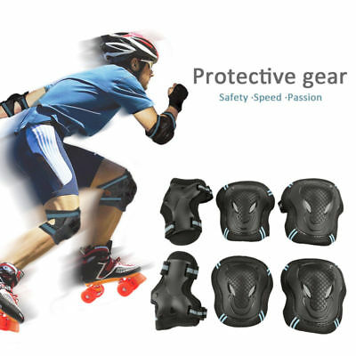 6PCS Roller Skating Skateboard Knee Elbow Wrist Protective Guard Pads Gear SML