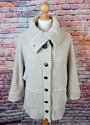 a14848495df TOPSHOP CHUNKY BEIGE roll neck cardigan pockets arty 16 Tall