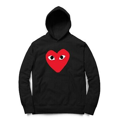 Black hoodie Love print heart red play comme Fashion Designer men women