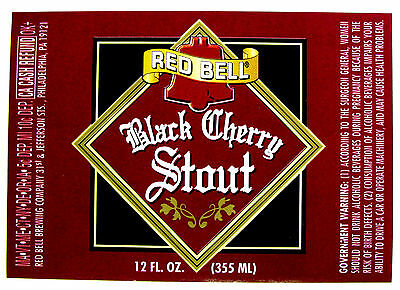 Red Bell Brewing BLACK CHERRY STOUT beer label PA 12oz