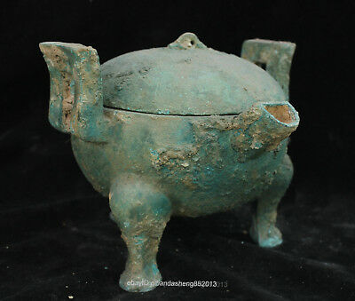 Certified 100% Chinese  Ancient Bronze Ware Wine teapot bowl box Statue