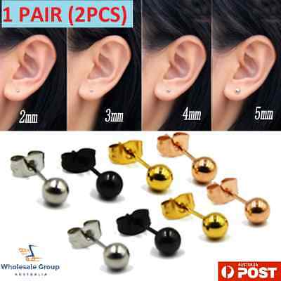 2PC Surgical Stainless Steel Ball Stud Earrings Round Men Women Tragus Polished