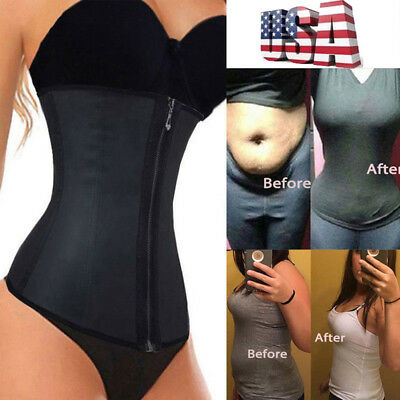 Fajas Colombianas Zip Latex Waist Trainer Weight Loss Cincher Corset Body Shaper