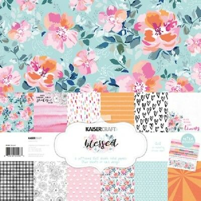 "Kaisercraft 'BLESSED' 12x12"" Paper Pk + Stickers Floral/Brights KAISER 01/19"
