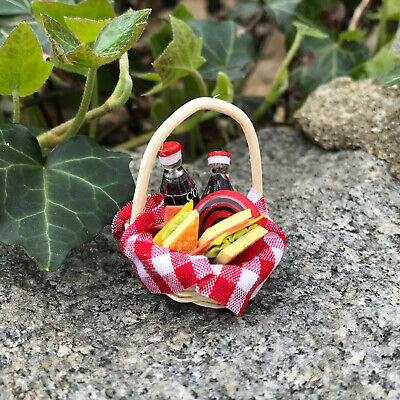 Dollhouse Miniature Oval Picnic Basket ~ Opens and Has Closure Band ~ IM66007