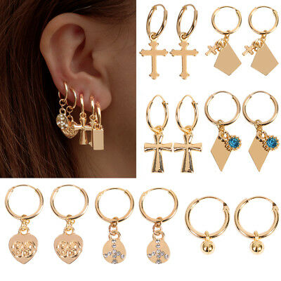 Women Cartilage Cross Heart/Cross Earring Hoop Gold Plated Earrings Jewelry Gift