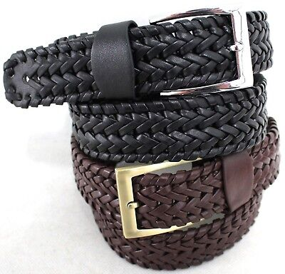 Men's Pleated/Braided Belt Australian Seller Blk or Brn. Style 42027.