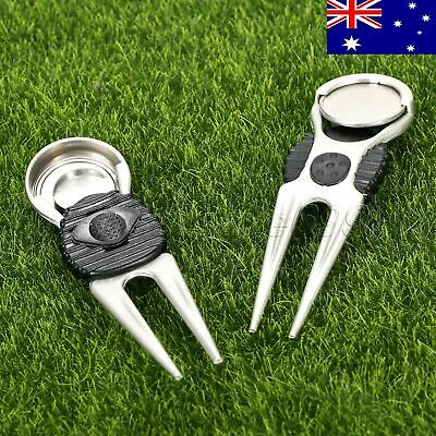 AU STOCK 2PC Golf Green Divot Repair Tool Ball Marker Putting Fork Pitch Cleaner