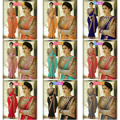 Multi Saree Sari Indian Bollywood Wedding Crape Silk Women Party Wear Embroidery
