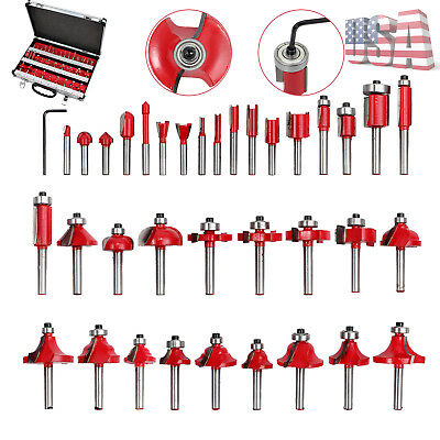 """35pcs Tungsten Carbide Tipped Cutters Router Bits Set for 6.35mm 1/4"""" Shank MDF"""