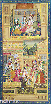 Harem Indian Miniature Painting  Mughal King  India Classical Vintage Ethnic Art
