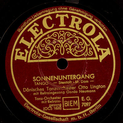 DÄNISCHES TANZORCH. OTTO LINGTON  Sonnenuntergang / Mond in Hawaii  78rpm  S7506