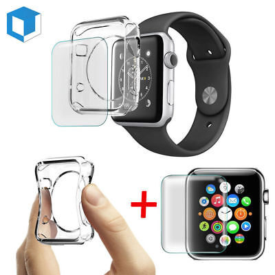 For Apple Watch Series4 Tempered Glass Screen Protector+Soft TPU Case 40/44mm DO
