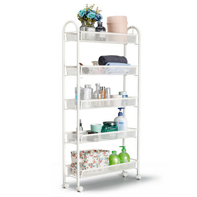 5-Tier Slide-Out Mesh Rolling Cart Storage Tower Rack Trolley Shelving Organizer