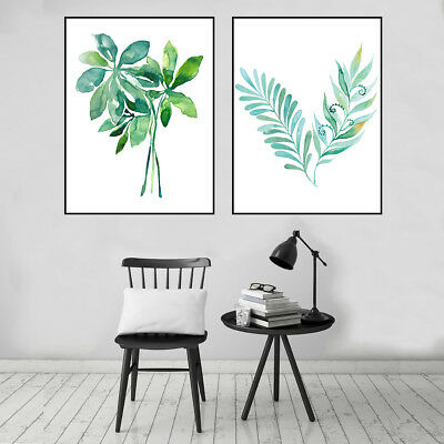 Green Plant Leaves Canvas Painting Poster Living Room Picture Wall Home Decor