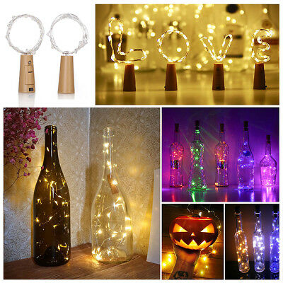 20LED Cork Starry Fairy Light Wine Bottle Night Lamp Festival Wedding Decor UK