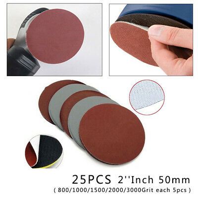 25X 2'' Grit 800 1000 1500 2000 3000 Mixed Sanding Discs Paper Hook Loop Wheels