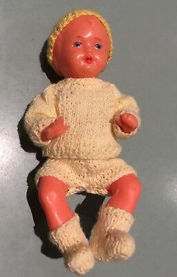 "Made In West Germany Hard Plastic Doll 4.5"" Moulded Hair Hand Knitted Clothes"