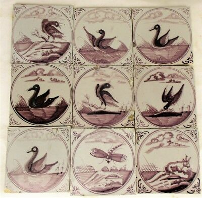 Antique Dutch Delft Tiles Animal Birds Dragonfly Ducks Manganese 18th/19th C