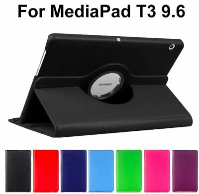 """360 Rotating Leather Case Cover For Huawei MediaPad T3 10 9.6"""" [Black]"""