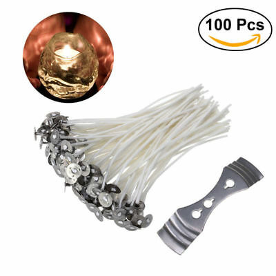 100pcs Candle Wicks 6 Inch COTTON Core Candle Making Supplies Pretabbed