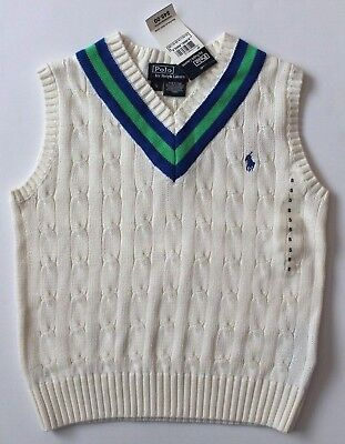 02ea82b63 Ralph Lauren Boys V Neck Sweater Vest Cable Knit Ivory Green Blue Size 5 NWT