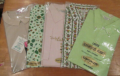 Vintage Ladie's Shirts Size 38 Button Down Bowling Blouses Lot Of 5 New! Sealed!