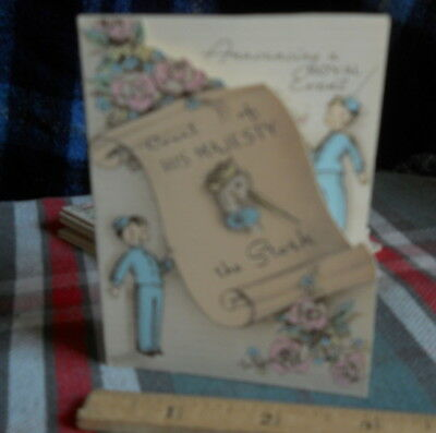 """Vintage 10  Birth Announcement *a Royal Event* 3"""" X 4""""inches H"""