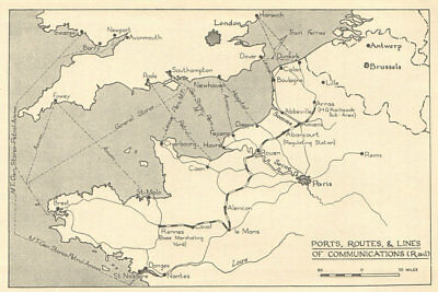 Fall of France 1940. 'Ports, Routes & rail communications. WW2 1953 old map