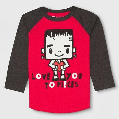 "LITTLE MONSTERS Toddler Boy Raglan L/S Shirt ""Love You To Pieces"" Valentine Day"